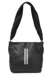Rick Owens Woman Studded Pebbled-leather And Twill Shoulder Bag Black