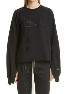 Rick Owens x Champion Vega Split Sleeve Embroidered Logo Sweatshirt