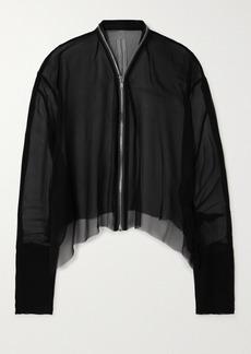 Rick Owens Zip-detailed Frayed Silk-chiffon Jacket