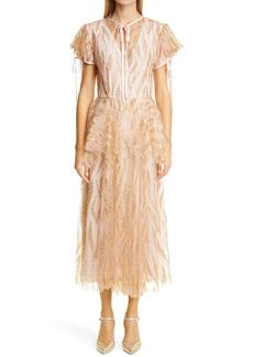 Rodarte Glitter Tulle Peplum Dress