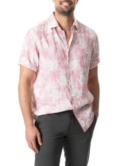 Rodd & Gunn Simpson's Beach Regular Fit Print Linen Short Sleeve Button-Up Shirt