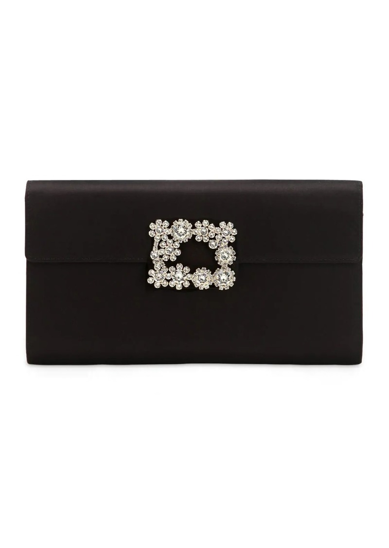 Roger Vivier Crystal Buckle Satin Envelope Clutch