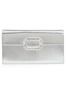 Roger Vivier Crystal Buckle Metallic Leather Envelope Clutch