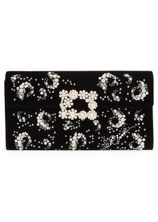 Roger Vivier Crystal Embellished Velvet Crossbody Bag