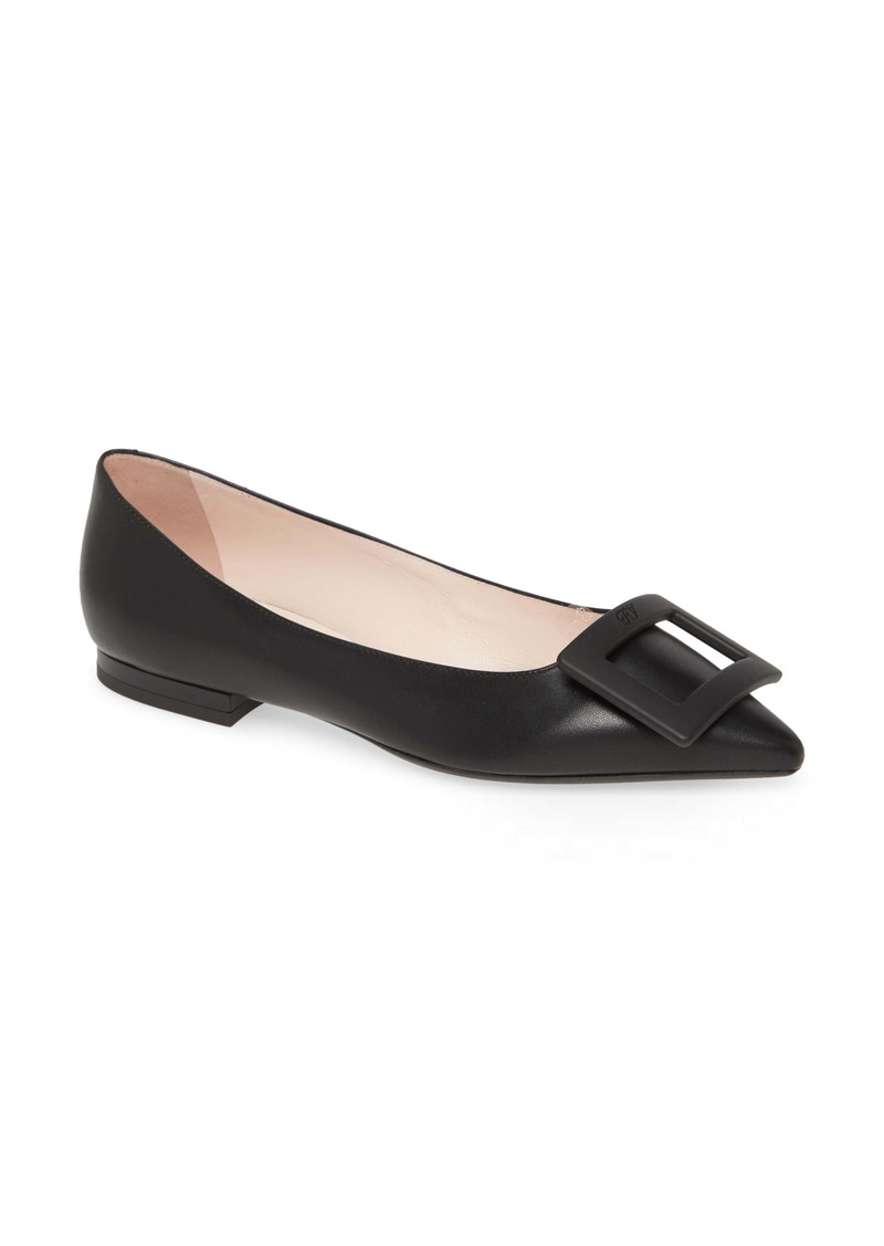 Roger Vivier Gommettine Buckle Pointed Toe Flat (Women)