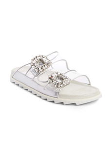 Roger Vivier Slidy Viv Crystal Buckle Slide Sandal (Women)