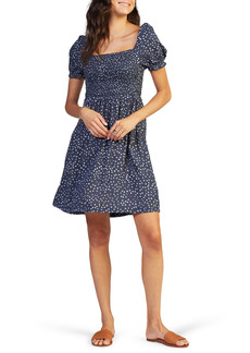 Roxy Hello Petal Dot Print Square Neck Puff Sleeve Dress