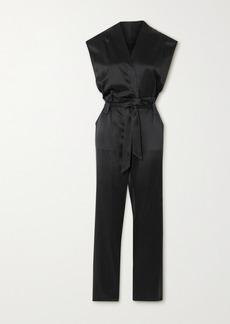 RtA Cynthia Belted Wrap-effect Silk-satin Jumpsuit