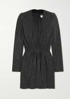 Saint Laurent Belted Studded Crepe Mini Dress