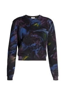 Saint Laurent Cropped Logo Tie-Dye Sweater