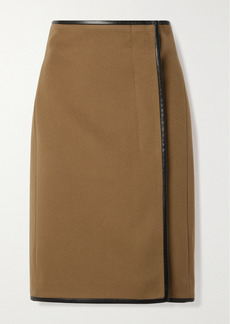 Saint Laurent Leather-trimmed Wool And Cashmere-blend Wrap Skirt