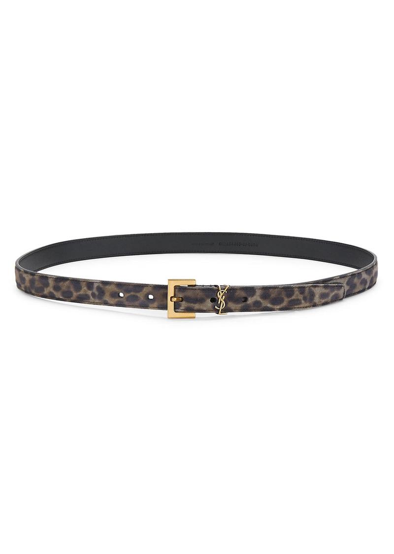 Saint Laurent Monogram Leopard-Print Leather Belt