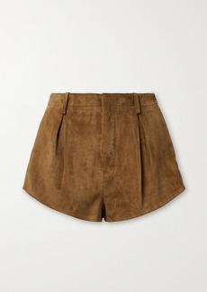 Saint Laurent Pleated Suede Shorts