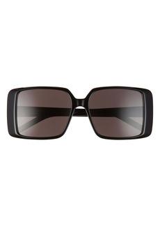Saint Laurent 56mm Rectangular Sunglasses