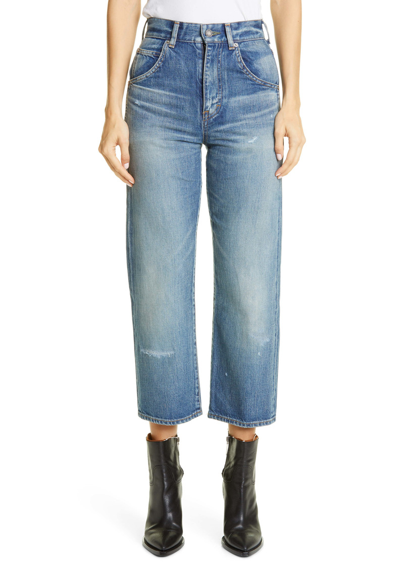 Saint Laurent '70s Crop Straight Leg Jeans (Sandy Winter Blue)