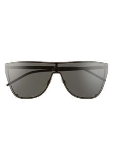Saint Laurent 99mm Oversize Flat Top Shield Sunglasses