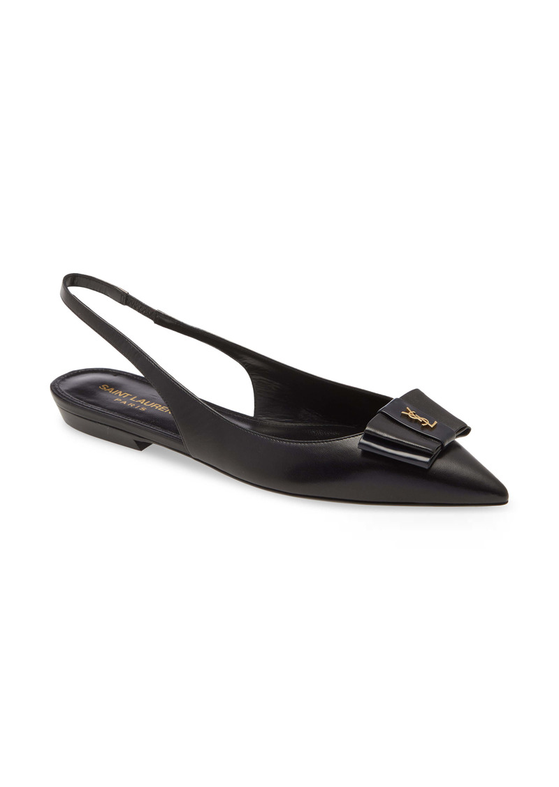 Saint Laurent Anais YSL Bow Slingback Flat (Women)