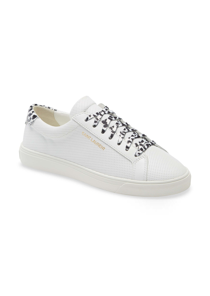 Saint Laurent Andy Cheetah Lace Low Top Sneaker (Women)