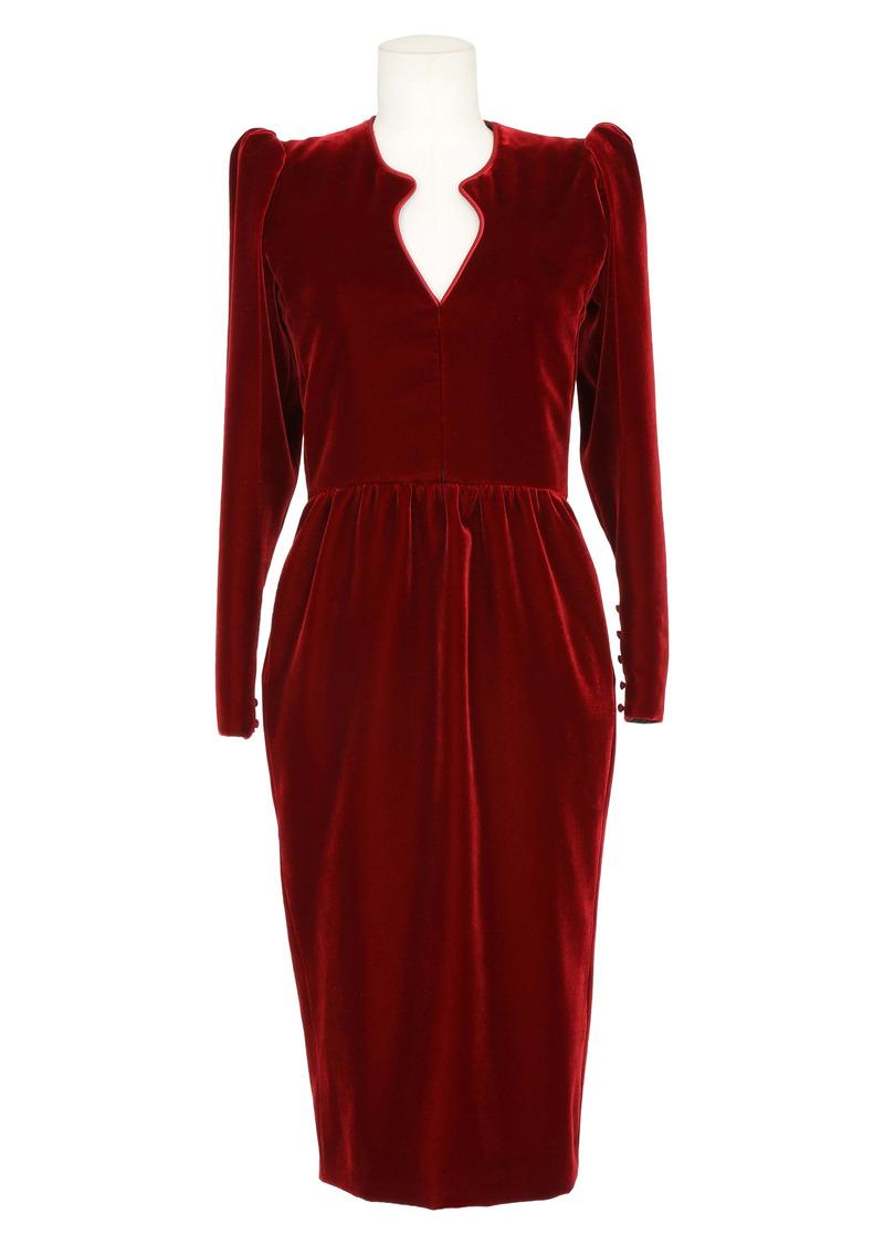 Saint Laurent Arched Neck Long Sleeve Velvet Dress
