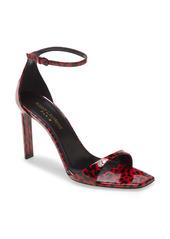 Saint Laurent Bea Leopard Print Ankle Strap Sandal (Women)