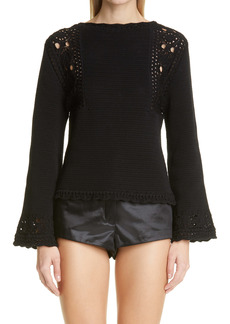 Saint Laurent Bell Sleeve Crochet Cotton Sweater