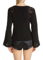 Saint Laurent Bell Sleeve Crochet Cotton Sweater
