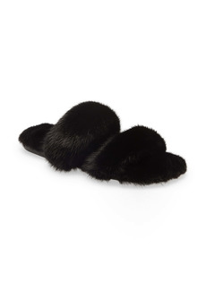 Saint Laurent Bleach Genuine Mink Fur Slide Sandal (Women)