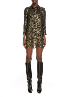 Saint Laurent Burnout Cheetah Mini Shirtdress
