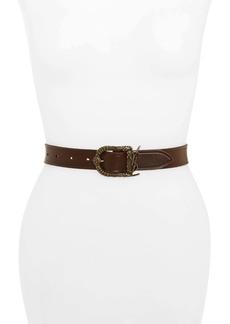 Saint Laurent Celtic Monogram Buckle Leather Belt