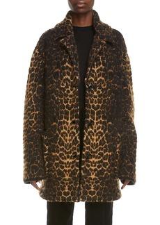 Saint Laurent Cheetah Jacquard Wool Blend Coat