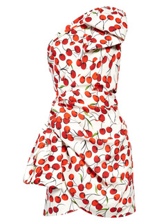 Saint Laurent Cherry Print One-Shoulder Minidress