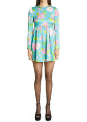 Saint Laurent Crinkled Floral Long Sleeve Minidress