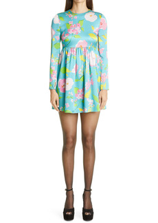 Saint Laurent Crinkled Floral Long Sleeve Minidress