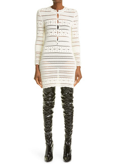 Saint Laurent Crochet Long Sleeve Minidress