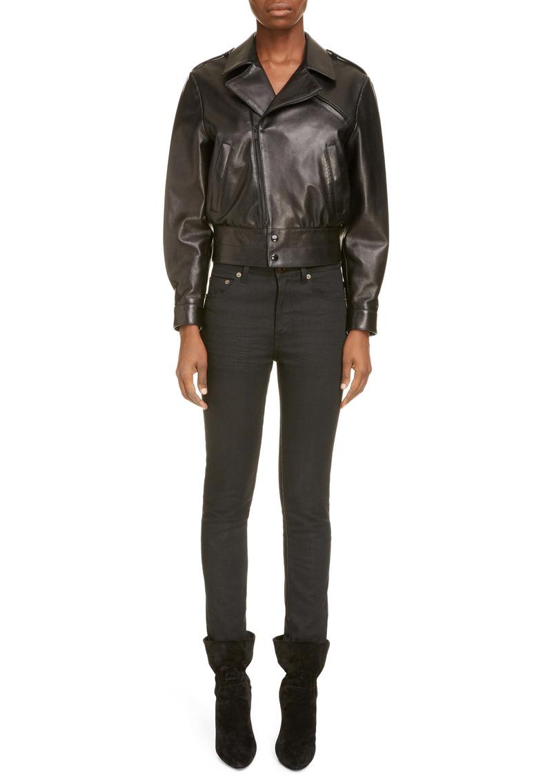 Saint Laurent Crop Leather Moto Jacket