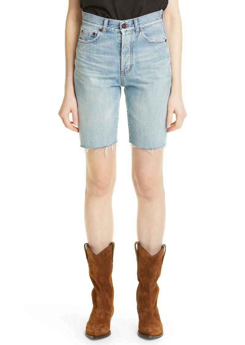 Saint Laurent Cutoff Denim Shorts