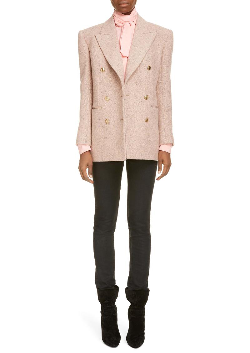 Saint Laurent Double Breasted Wool Tweed Jacket