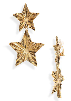 Saint Laurent Double Star Drop Clip-On Earrings