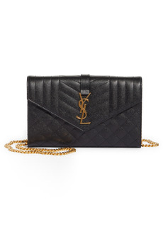Saint Laurent Envelope Quilted Pebbled Leather Wallet on a Chain