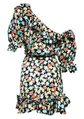 Saint Laurent Floral Ruffle One-Shoulder Silk Dress