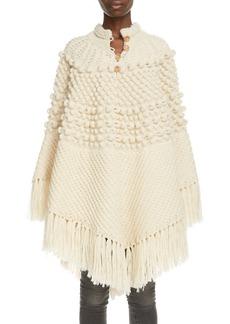 Saint Laurent Fringe Trim Cable Wool Poncho
