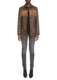 Saint Laurent Fringe Trim Leopard Jacquard Wool Blend Jacket