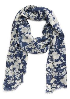 Saint Laurent Hibiscus Print Wool Scarf
