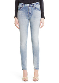 Saint Laurent High Waist Skinny Jeans (Bright Blue)