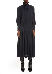 Saint Laurent Houndstooth Jacquard Long Sleeve Midi Dress