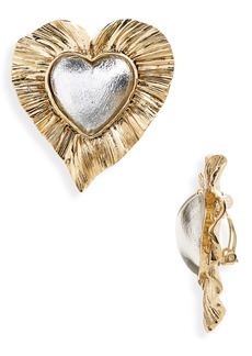 Saint Laurent Héritage Radiating Heart Clip Earrings
