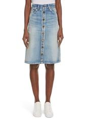 Saint Laurent Knee Length Denim Skirt