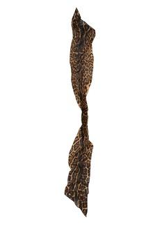Saint Laurent Lavarille Studded Leopard Print Wool Scarf
