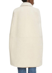 Saint Laurent Leather Trim Genuine Shearling Cape