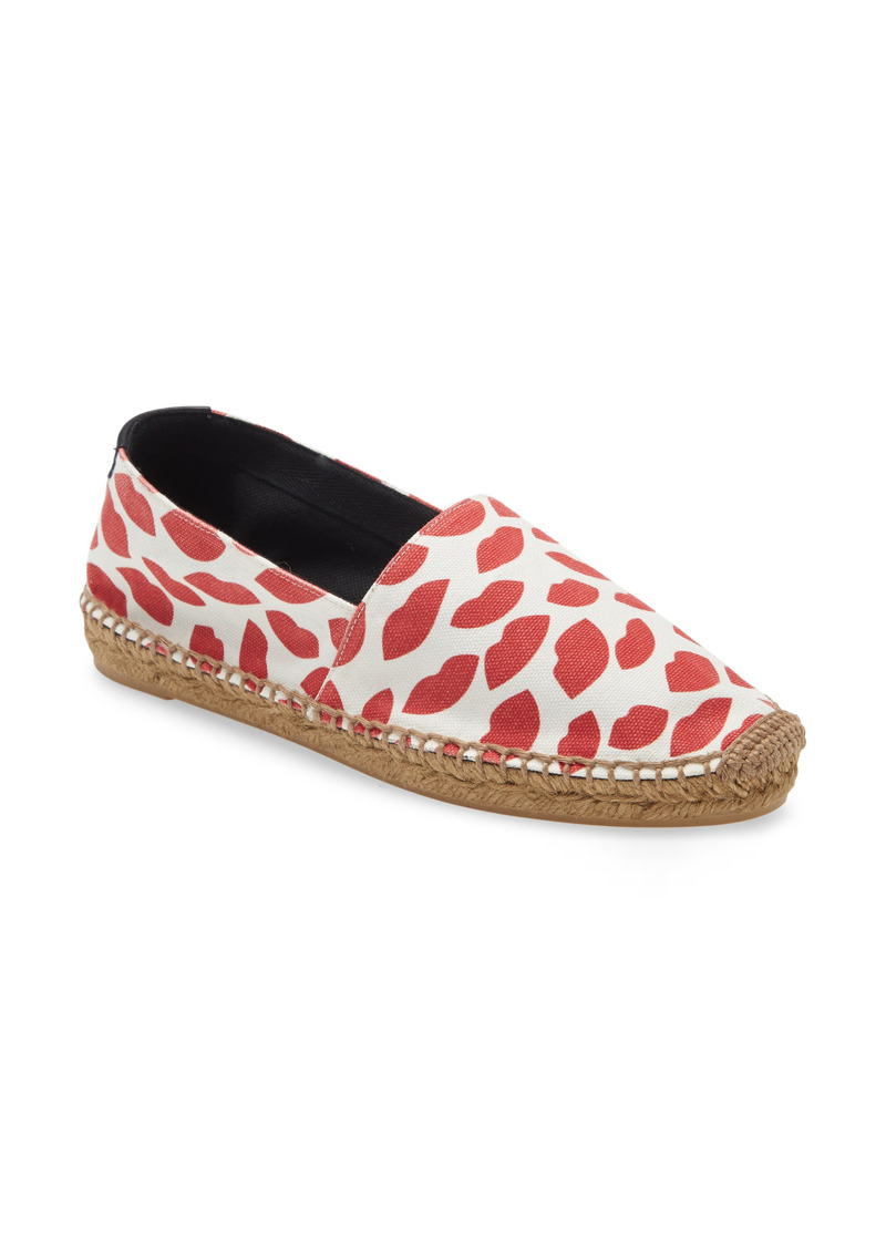 Saint Laurent Lip Print Espadrille Flat (Women)